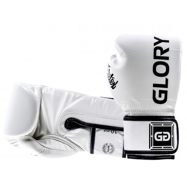 "RĘKAWICE BOKSERSKIE FAIRTEX BGVG1 (white/black piping) ""GLORY"""