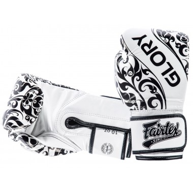 "RĘKAWICE BOKSERSKIE FAIRTEX BGVG2 (white/black piping) ""GLORY"""