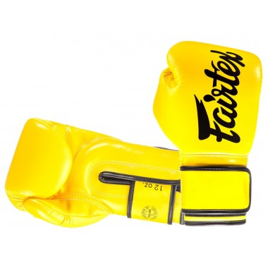 "RĘKAWICE BOKSERSKIE FAIRTEX BGV14 (yellow/black piping) ""Microfiber"""