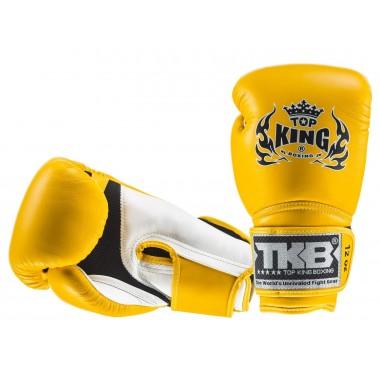 """RĘKAWICE BOKSERSKIE TOP KING TKBGSA """"SUPER AIR"""" (155) (white/yellow/yellow)"""