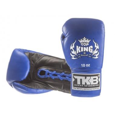 """RĘKAWICE BOKSERSKIE TOP KING TKBGPL """"PRO"""" (244) (blue/black) SZNUROWANE"""