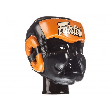"KASK BOKSERSKI SPARINGOWY FAIRTEX HG13 (black/orange) ""Diagonal Vision Sparring"""