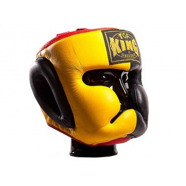 "KASK BOKSERSKI SPARINGOWY TOP KING TKHGEC-LV (523) ""EXTRA COVERAGE"" (yellow/black/red)"